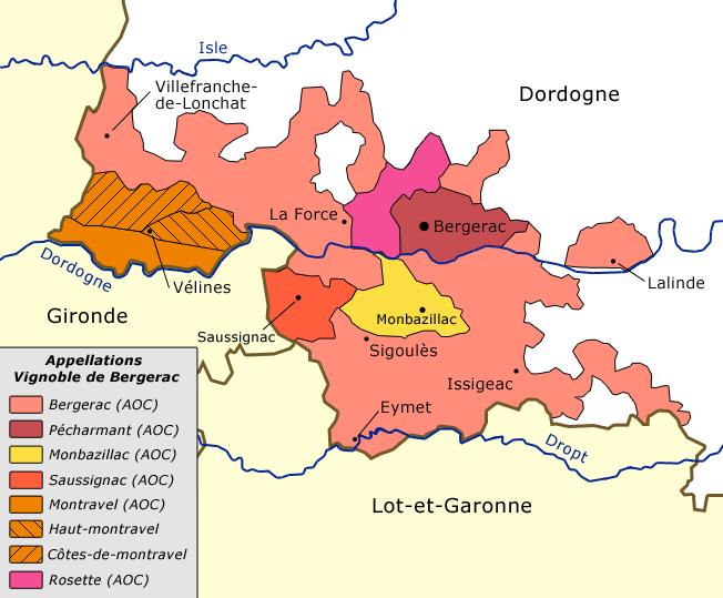 Carte AOC Bergerac Appelations