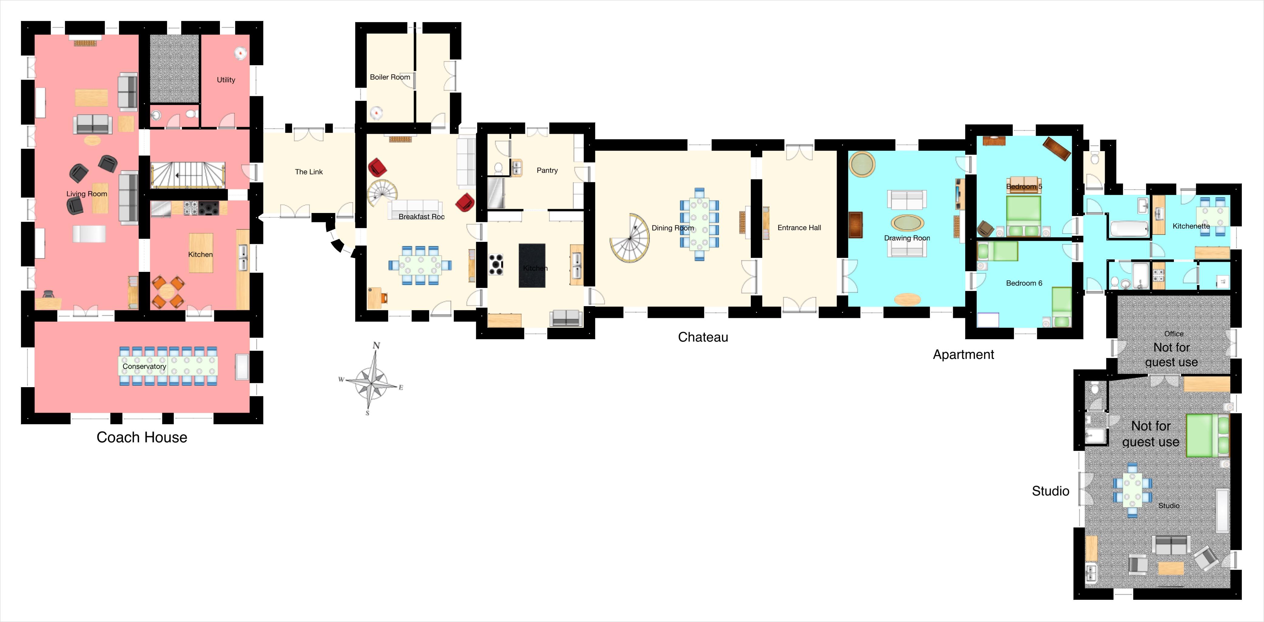 floor plan of chateau coach house apartment - Coach House Floor Plans