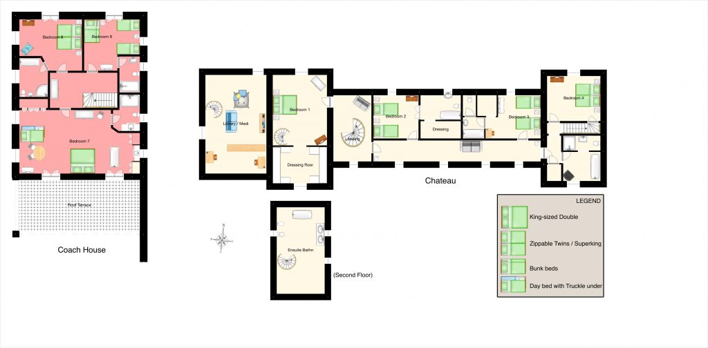 Floor plan of chateau, coach house, apartment