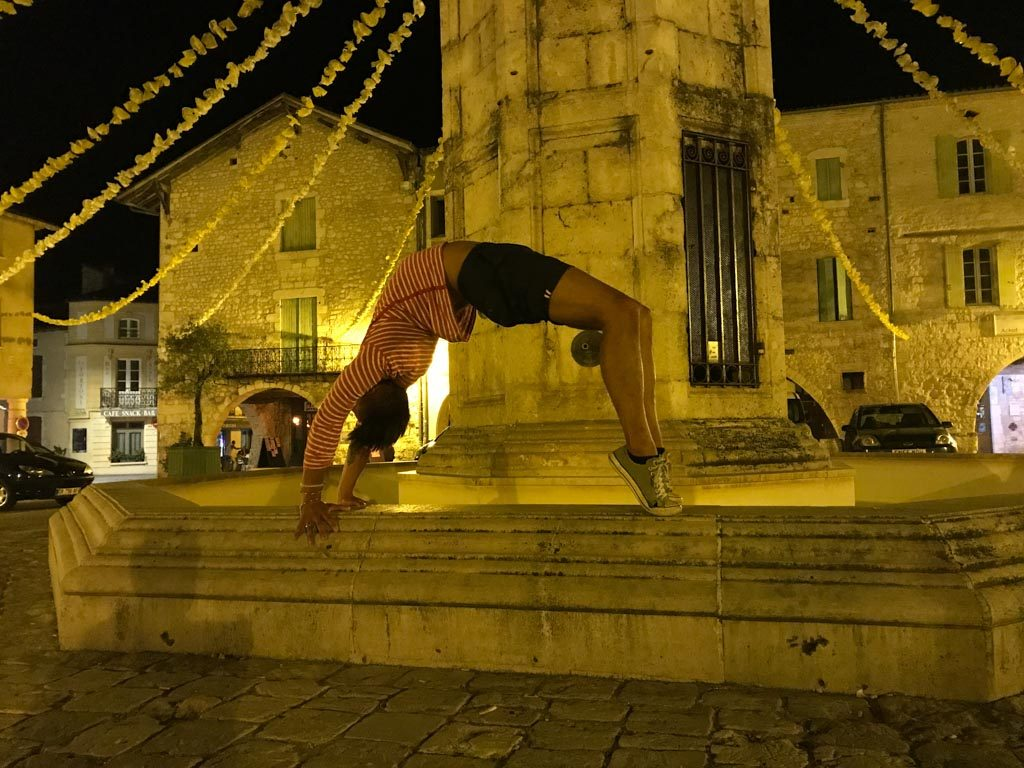 Evening yoga photoshoot in the square in our local town of Eymet