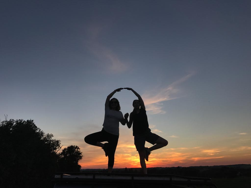Yoga photoshoot at sunset. At Chateau Lacanaud